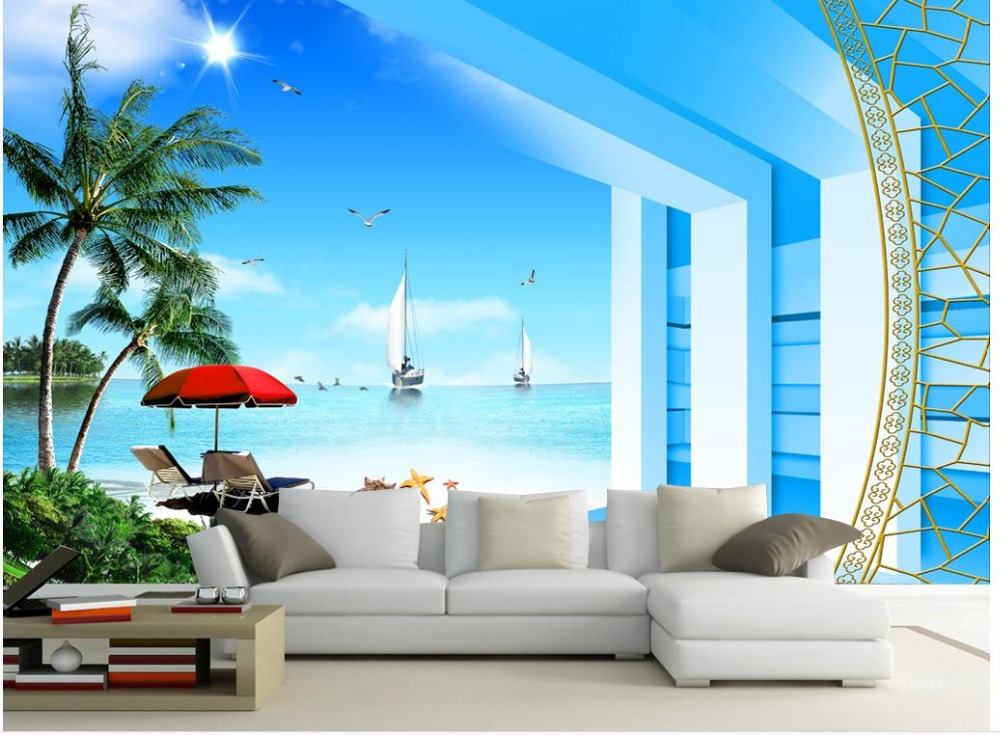 3d wallpaper nature seaview beach photo wallpaper custom for Papel de paisajes para paredes