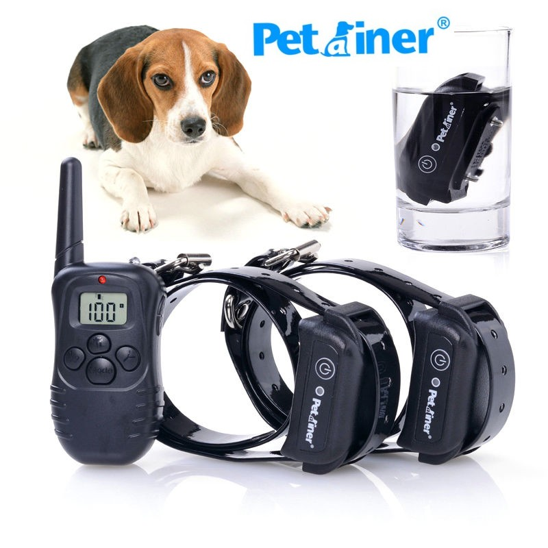 PETRAINER Pet Dog Training Collar 100 Waterproof Rechargeable LCD Electronic Shock Electric Pet Trainer PET998DB 2dog