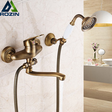 Bathroom Mixer 16/20/25 cm Brass Long Nose outlet shower faucet Single Handle Wall Mounted Bathtub Sink Faucet Taps
