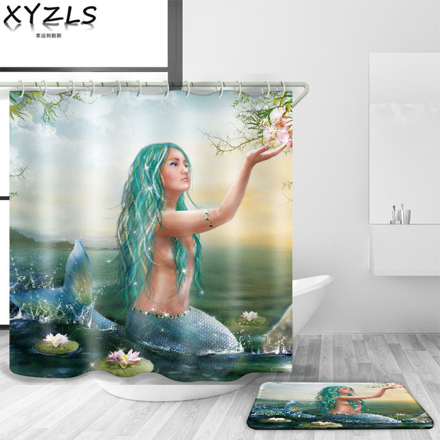 XYZLS 2018 Brand New European Bella Sirena Impermeabile Tende da Doccia In Polie