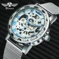 Женские часы-скелетоны WINNER  механические ультратонкие часы с сетчатым ремешком и кристаллами
