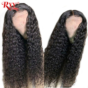 Image 3 - RXY Deep Wave Lace Frontal Wig Glueless Lace Frontal Human Hair Wigs Pre Plucked With Baby Hair T Part Wigs Brazilian Hair Remy