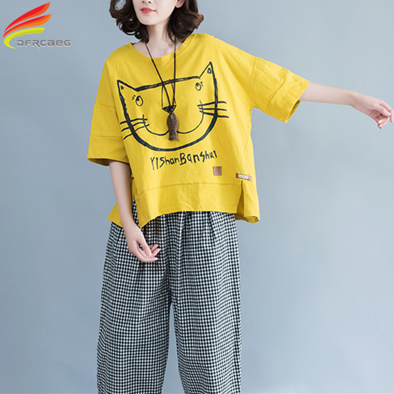 O-Neck Plus Storlek Tee Kvinnor 2018 Sommar Casual Lös Stor Stor T-shirt Kawaii Cartoon Katt Print Kvinnor Tops Cotton Tshirts