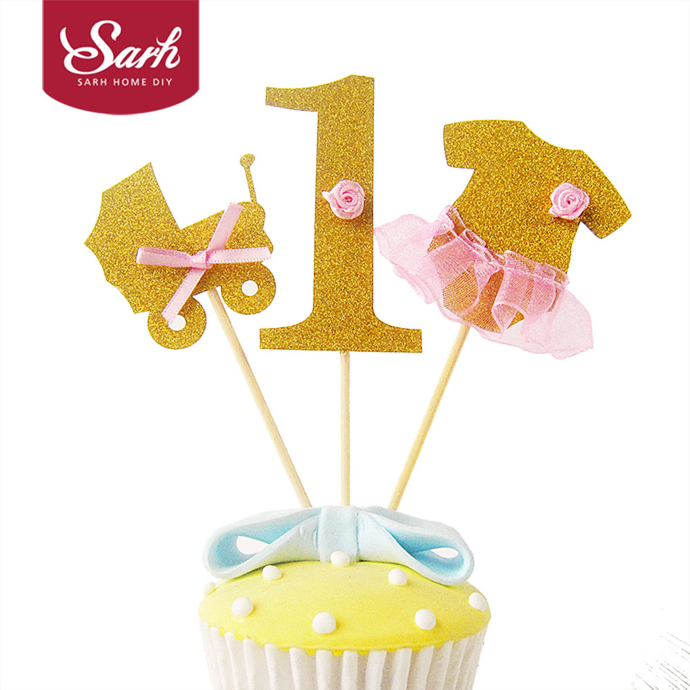 Happy Birthday Party Gold First Year Carts Cake Topper Cake Decoration Wedding Party Fes ...