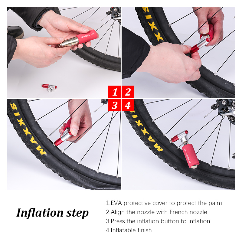 Wheel UpHead Bike Ball Mini Portable Pump Dual Inflator Pump Hot Selling Bicycle Pump CO2 Cartridge Emergency Cycling Pump in Bicycle Pumps from Sports Entertainment