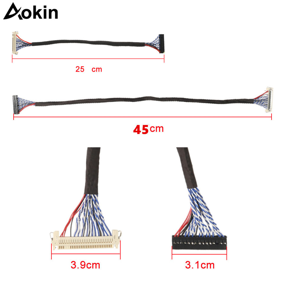 """250mm LVDS Cable FIX-30Pin-D8 1.0mm Pitch for 17/"""" 21/"""" LCD Display Panel Screen"""