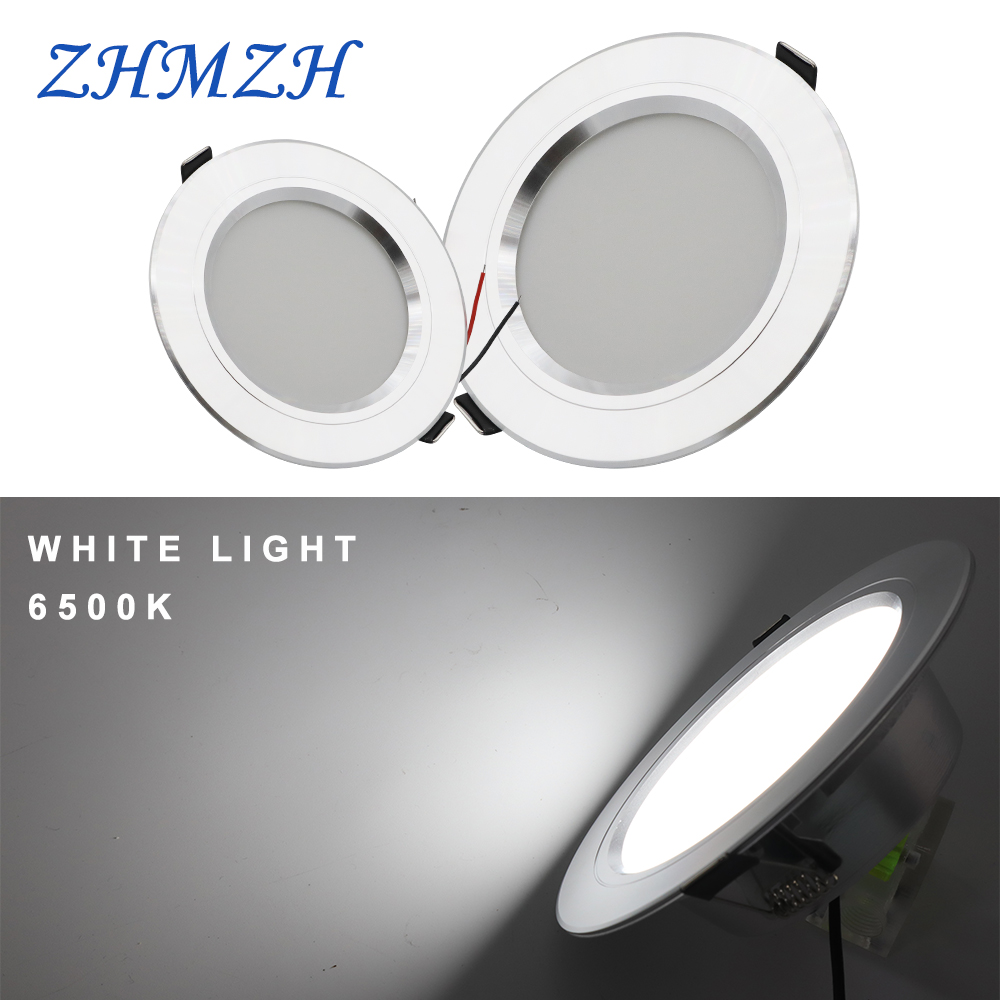 180-260V LED Downlight Silvery Ceiling Lamp 5W 9W 12W 15W 18W White/Warm White Round Recessed Led Light Aluminum Shell Cooling