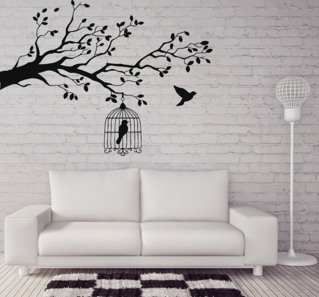 Caged Bird Tree Branch Wall Stickers Vinyl Wall Decal Animals And Birds Wall  Stickers Let Bird