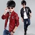 Alta qualidade de couro meninos jaqueta e casaco impermeável moda o-pescoço preto Blazers casacos frete grátis