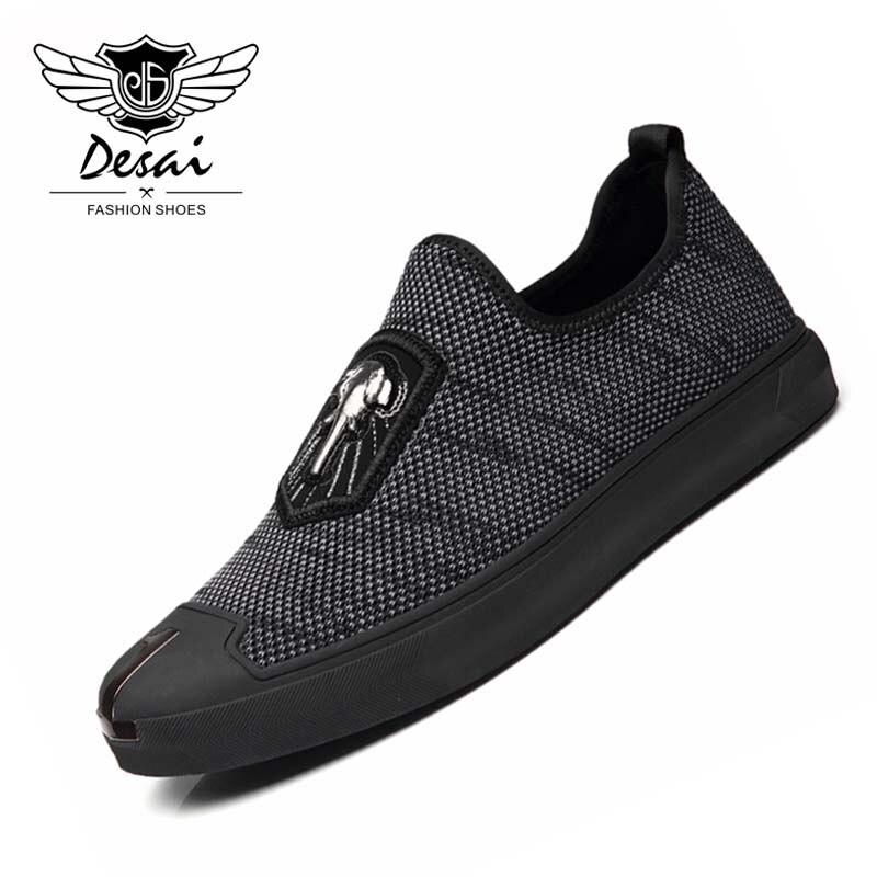 DESAI 2018 New Shoes Men Fashion Causal Shoes Breathable Light Wear Shoes for Men Hot Sale Loafer Shoes Size Large Size 38-44