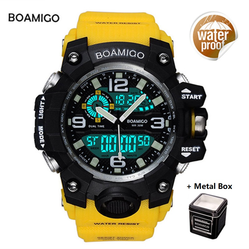 Men Sports Watches BOAMIGO Brand Digital LED Quartz Rubber Military Wristwatches Waterproof Analog Male Clock Relogio Masculino boamigo men sports watches brown leather band man military quartz led digital analog casual wristwatches waterproof reloj hombre