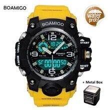 Men Sports Watches BOAMIGO Brand Digital LED Quartz Rubber Military Wristwatches