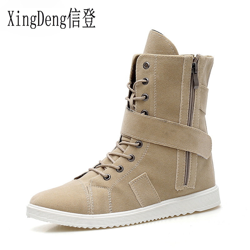 XingDeng Man Lace Up Winter Snow Boots Size 39-44 High Top Zipper Belt Martin Boot Plush Padded Cotton Warm