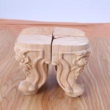 Drewniane nóżki do mebli z litego drewna kwiat rzeźbione szafki TV stopy siedziska bez malowania Aug12 Whosale i DropShip