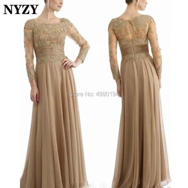 NYZY M142 élégante dentelle mousseline de soie robe formelle Champagne à manches longues mère de la mariée robes de grande taille 2019 vestido formatura