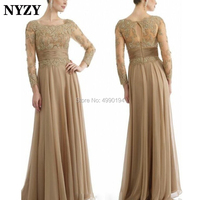 NYZY M142 Elegant Lace Chiffon Formal Dress Champagne Long Sleeve Mother of the Bride Dresses Plus Size 2019 vestido formatura