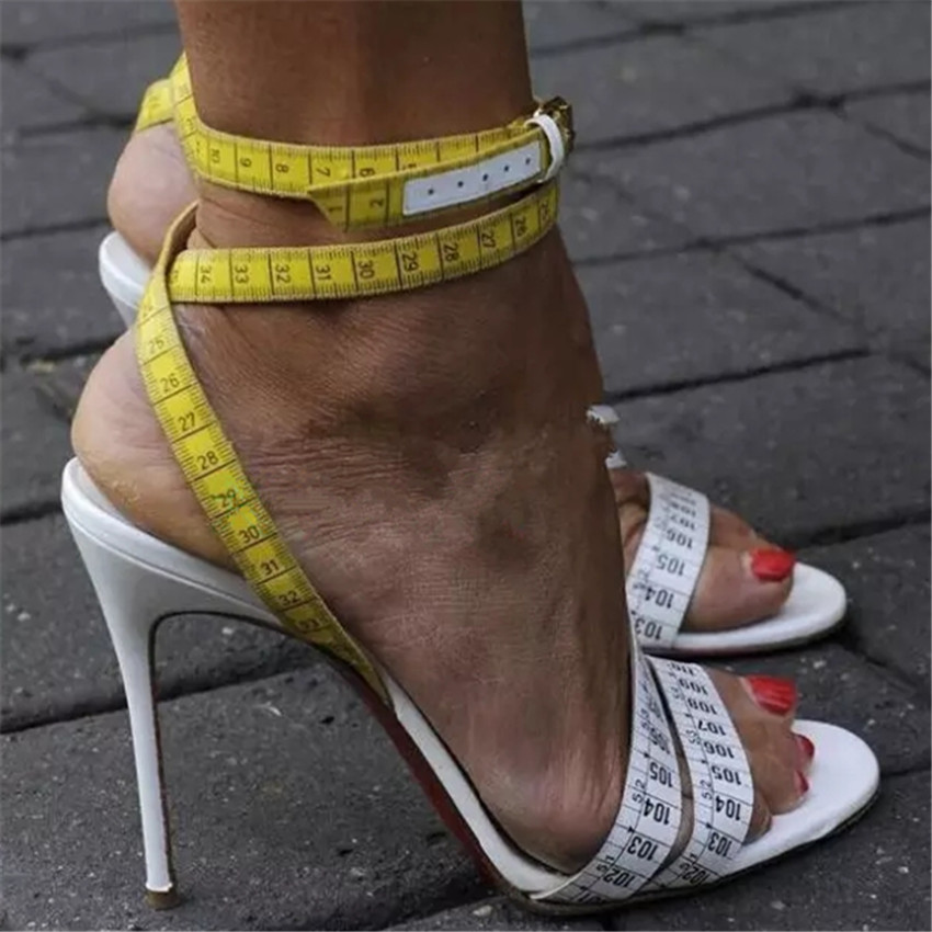 Fashion Summer Women Sandals White Yellow Ruler Design Dress Shoes Woman Gladiator Sandals High Heels Women Pumps Zapatos Mujer excellent design sandalias femininas tassels sandal summer shoes fashion design high heels gladiator womens sandals shoes