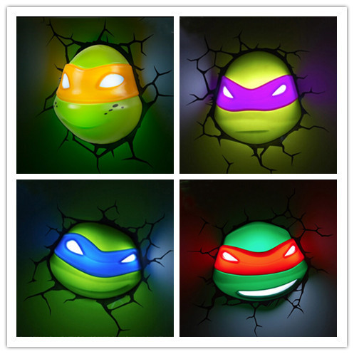 Hot Sell Teenage Mutant Ninja Turtles 3D Wall Lamp Amazing Living Room Bedroom Night Light Creative Lampada de parede Xmas Gift hot sell sports series 2014 brazil world cup football 3d wall lamp amazing room decoration light lampada de parede xmas gift
