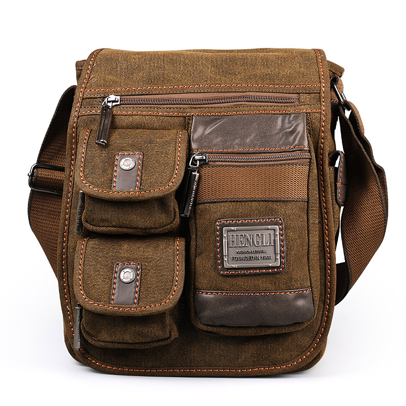 2018 Ruil Retro retro กระเป๋าสะพายผ้าใบ Multifunction Man Leisure Tooling Messenger แพคเกจ Retro กระเป๋าถือ-ใน กระเป๋าสะพายข้าง จาก สัมภาระและกระเป๋า บน   3
