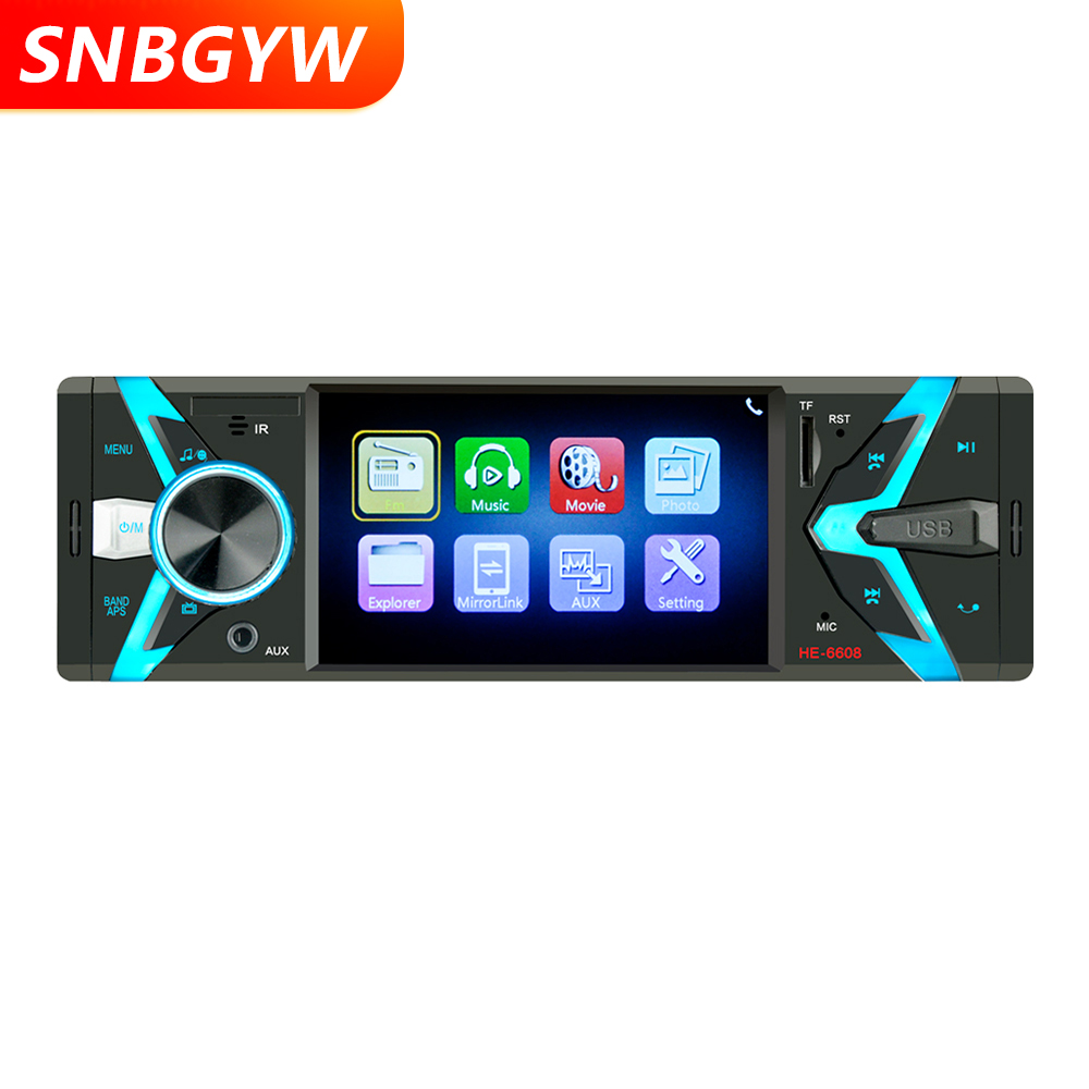 Radio Car 1 DIN 12V Car Audio Stereo Bluetooth SD USB TF MP3 MP4 Multimedia Player 4.1 inch Screen Rear Camera Input DH057