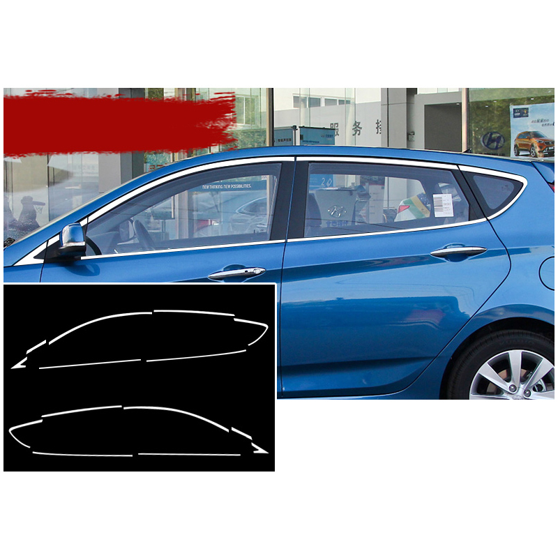 lsrtw2017 stainless steel car window trims for hyundai accent 2011 2012 2013 2014 2015 2016 2017 hyundai solaris Verna