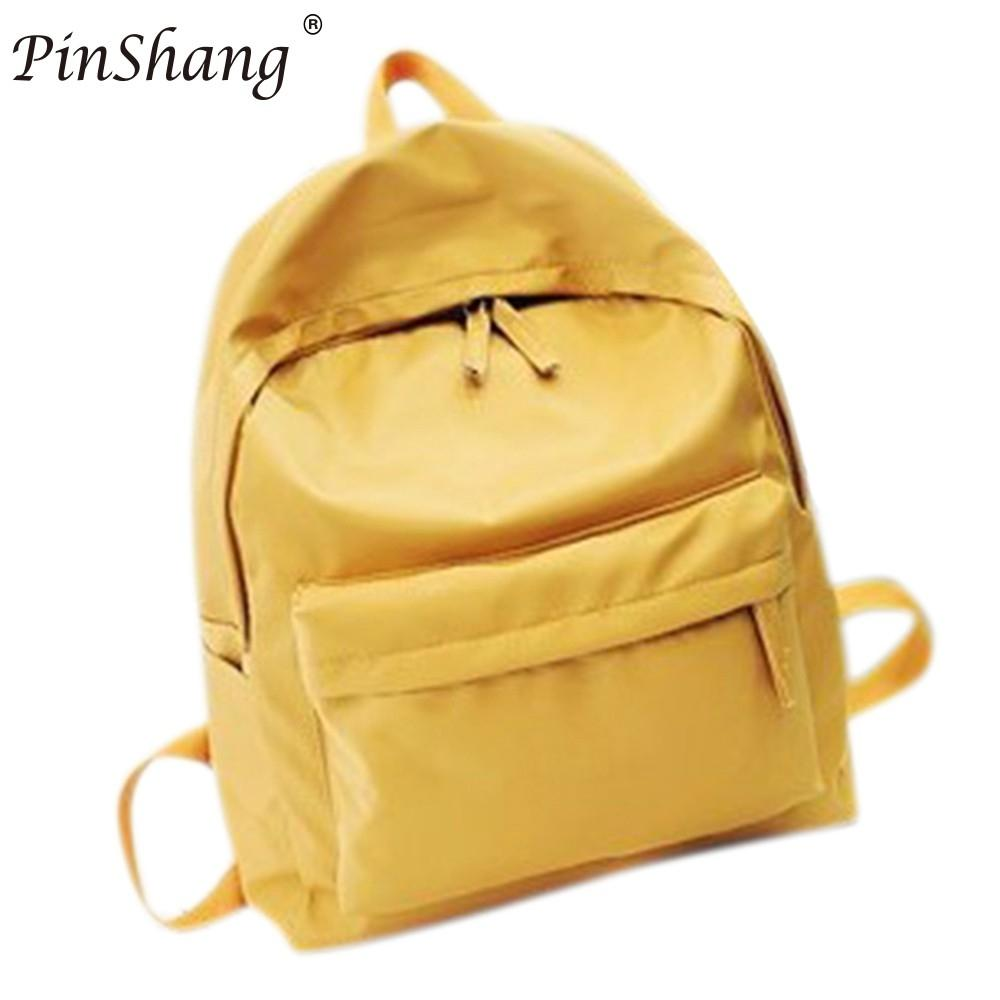 PinShang Womens Concise Diagonal Stylish Lightweight Backpack Student Solid Color Zipper Schoolbag Travelling Bag Satchel ZK30