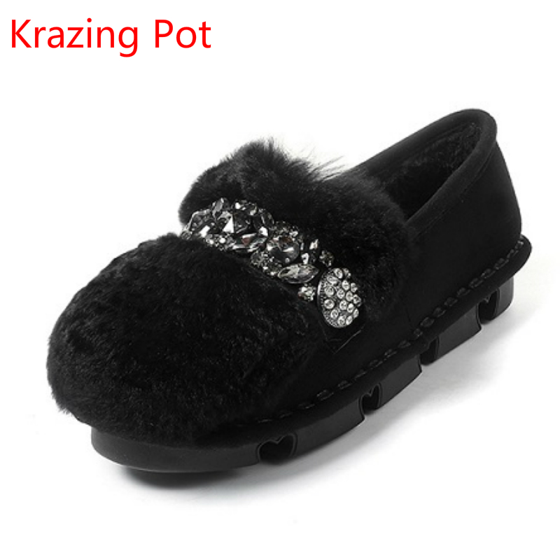 2018 New Arrivel Rabbit Fur Handmade Concise Low Heels Winter Shoes Round Toe Crystal Diamond Slip on Sexy Warm Women Shoes L13