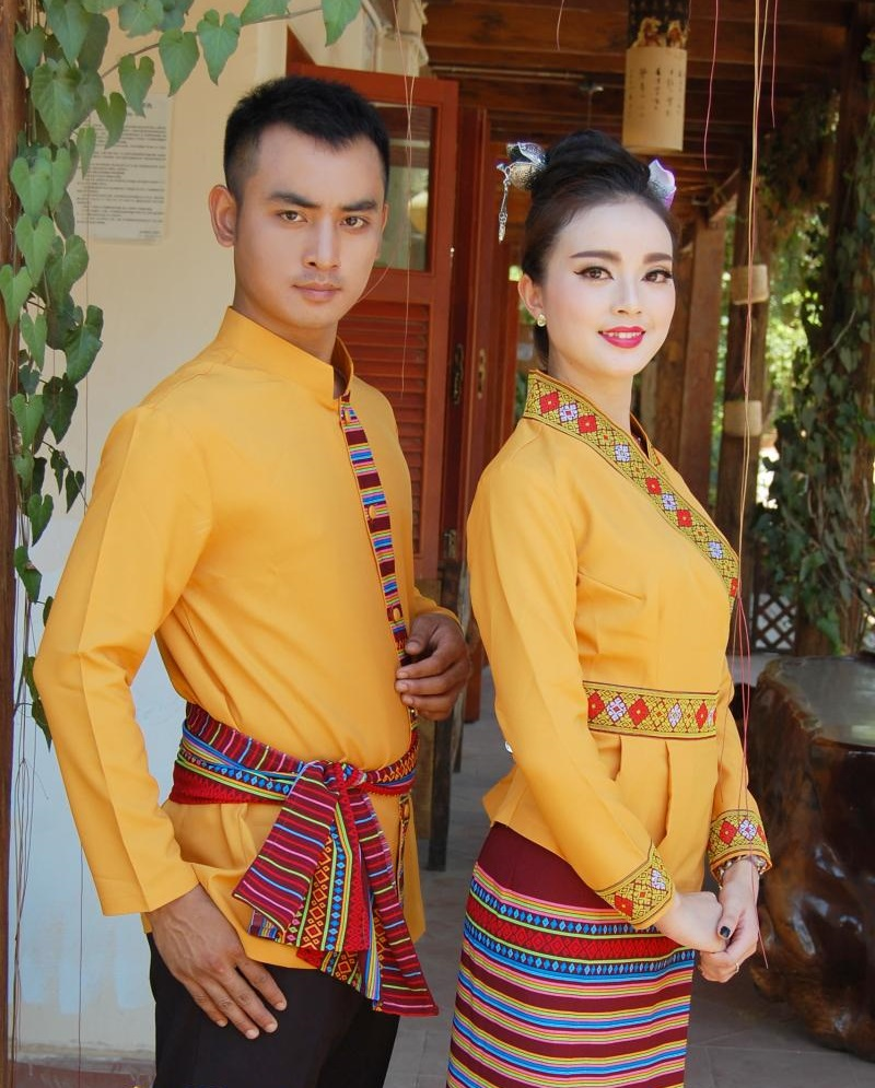 South East Asia Thailand Laos YunNan Hotel uniform Orange yellow long sleeve Top skirt collocation suits men women Special wear 35