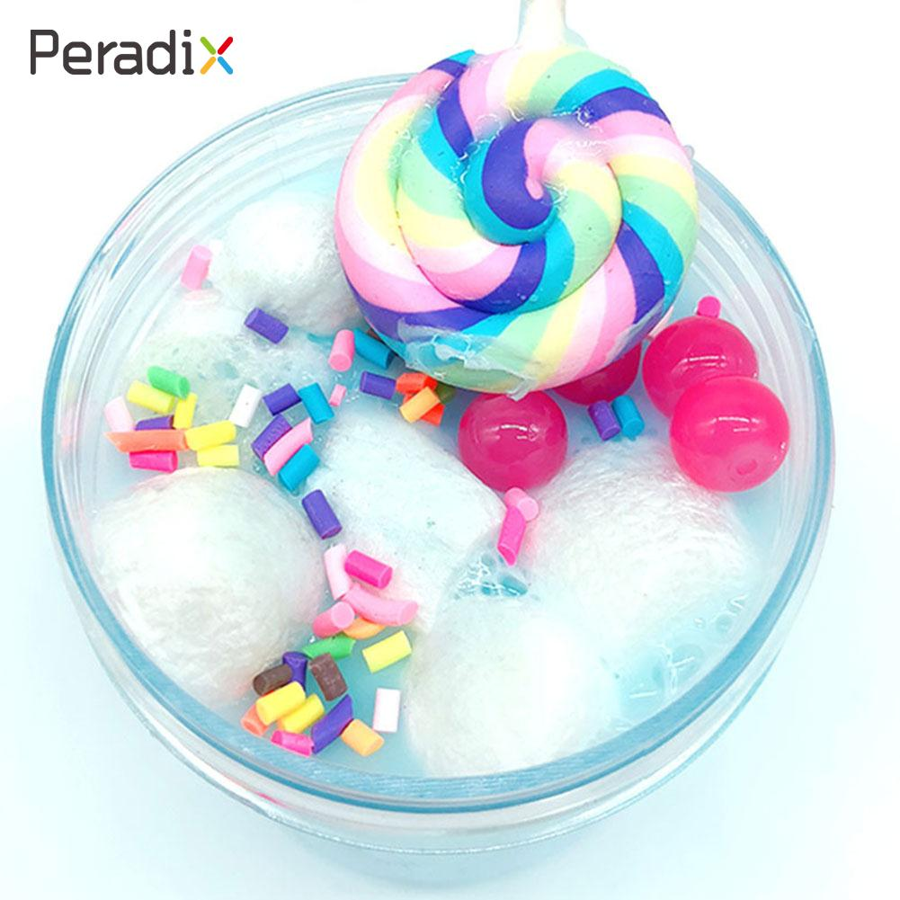 2018 Slime Plasticine Funny Candy Fluffy Foam Clay DIY Slime Mud Fluffy Foam Clay Education Antistress Kids Toys For Children snap button jewelry