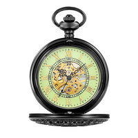 Vintage Black Flip Pocket Watch Men Roman Number Classic Mechanical Watch Necklace Women Pendant with Chain Gifts