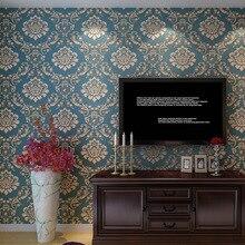 Beibehang Роскошные рельефы 3D обои синий Дамаск цветочные обои гостиная спальня обои для стен 3D Papel де Parede
