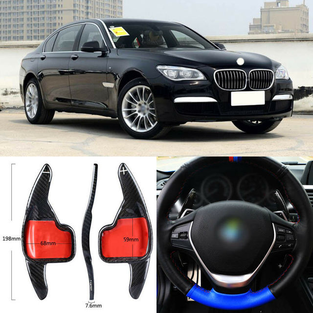 $ 96.81 Carbon Fiber Gear DSG Steering Wheel Paddle Shifter Cover Fit For BMW 7 Series 2013-2015