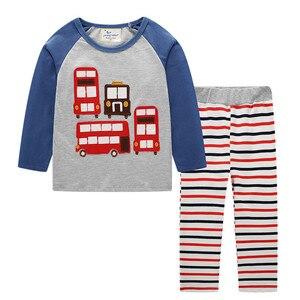 Image 1 - Jumping meters/Новое поступление, комплекты одежды для мальчиков и девочек, хлопковая зимняя детская одежда с животными, модные костюмы из 2 предметов, Толстовка и штаны