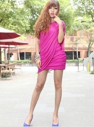 Fashion sexy nightclub temperament shoulder fold gauze Slim Dress