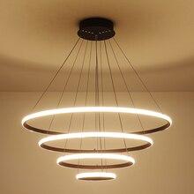 Brown/white modern Led Chandelier lighting aluminum dining room lustre luminaria lampadario Hanging installation
