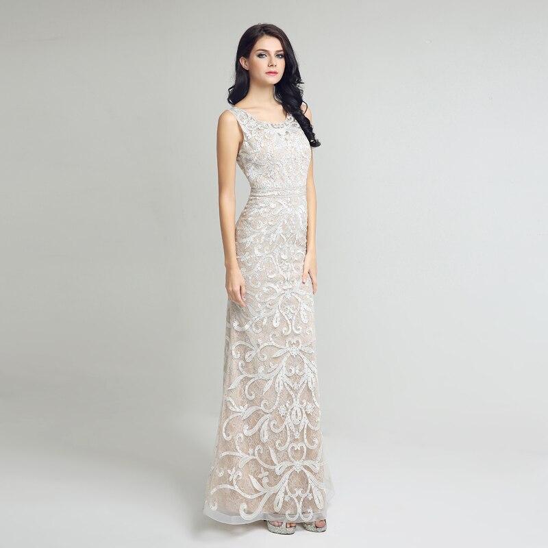 Élégante dentelle sirène longues robes De soirée Sexy dos ouvert ivoire robes De soirée formelles robes De bal Robe De soirée LSX212 - 2
