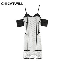 CHICATWILL 2019 NEW Summer Elegant Sweet Ladies Dress Sexy Off shoulder Dot Dresses Party Sisters