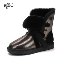Top Quality New Arrival Genuine Sheepskin Leather Snow Boots Winter Real Wool Mid Calf Mujer Botas