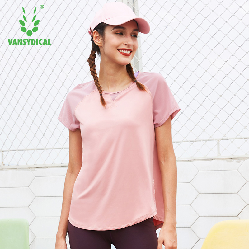 b4a71a5e1c69f Vansydical Women s Gym Mesh Yoga Shirts Short Sleeve Breathable Back Split Sports  Tops Fitness Workout Running T shirts-in Yoga Shirts from Sports ...