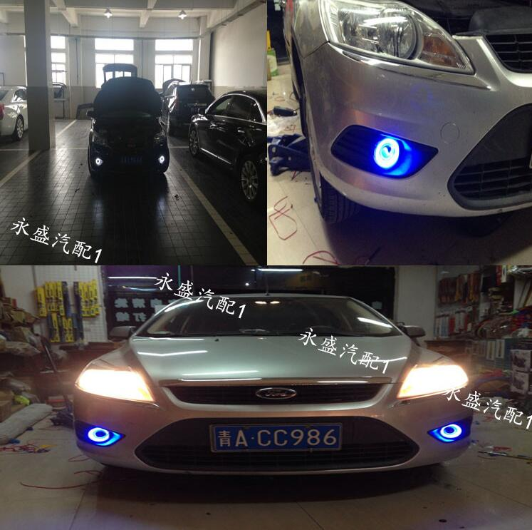 LED DRL daytime running light COB angel eye, projector lens fog lamp with cover for ford focus series, 2 pcs