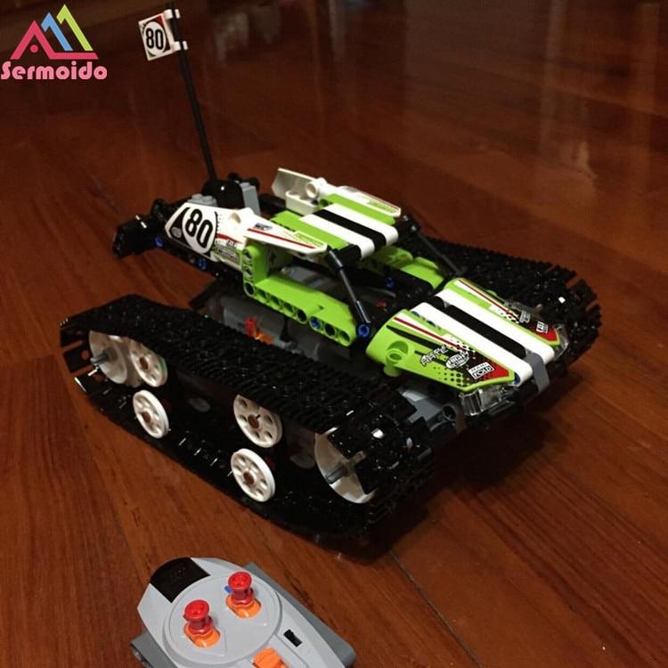 sermoido 2017 New Decool 20033 397Pcs Technic Radio Controlled Tracked Racer Model Building Kits Blocks Bricks Toys Gift 42065 decool 2017 new 3340 technic transport