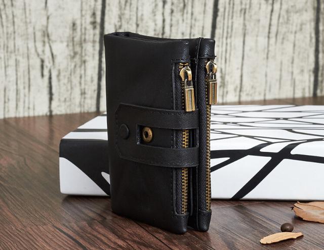 New leather wallet The fashion leisure short man purse Double zipper large capacity.pinepoxpwallet.size:11.8×2.5×9.5cm