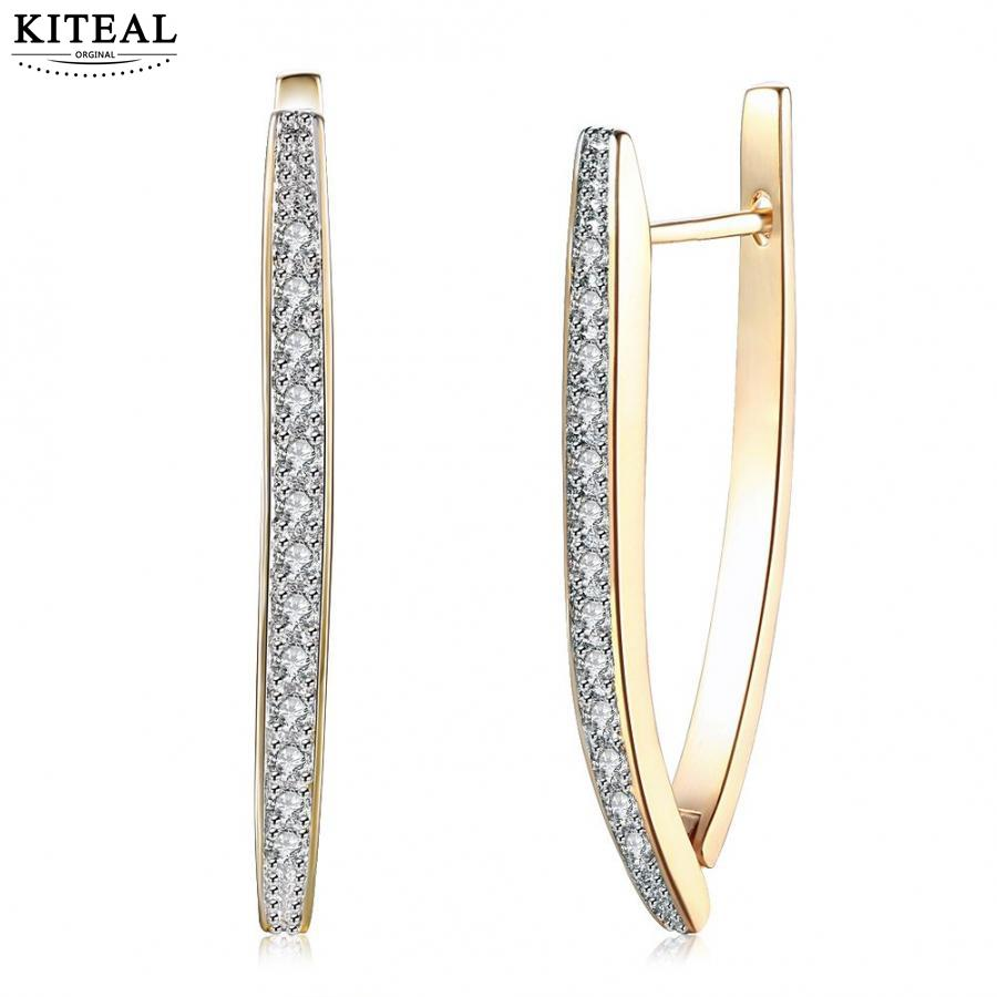 KITEAL 2018 New Fashion jewelry Cubic Zirconia Geometric U shape Gold color aros Hoop Earrings for women Female Big Hoops