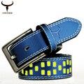 Cowather vaca cinturones de cuero genuino para las mujeres y los hombres 2016 nuevo diseñador de la alta calidad de fluorescencia 130 cm hebilla dropshipping