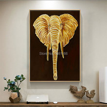 HAND Painted elephant Wall Art Painting High Quality Abstract Gold head Oil golden canvas wall picture