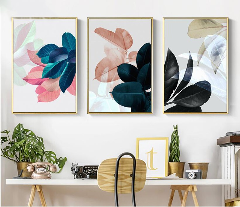 Colorful Leaves Wall Pictures For Living Room Home Decoration Nordic Plants Poster Wall Art Canvas Painting Posters And Prints