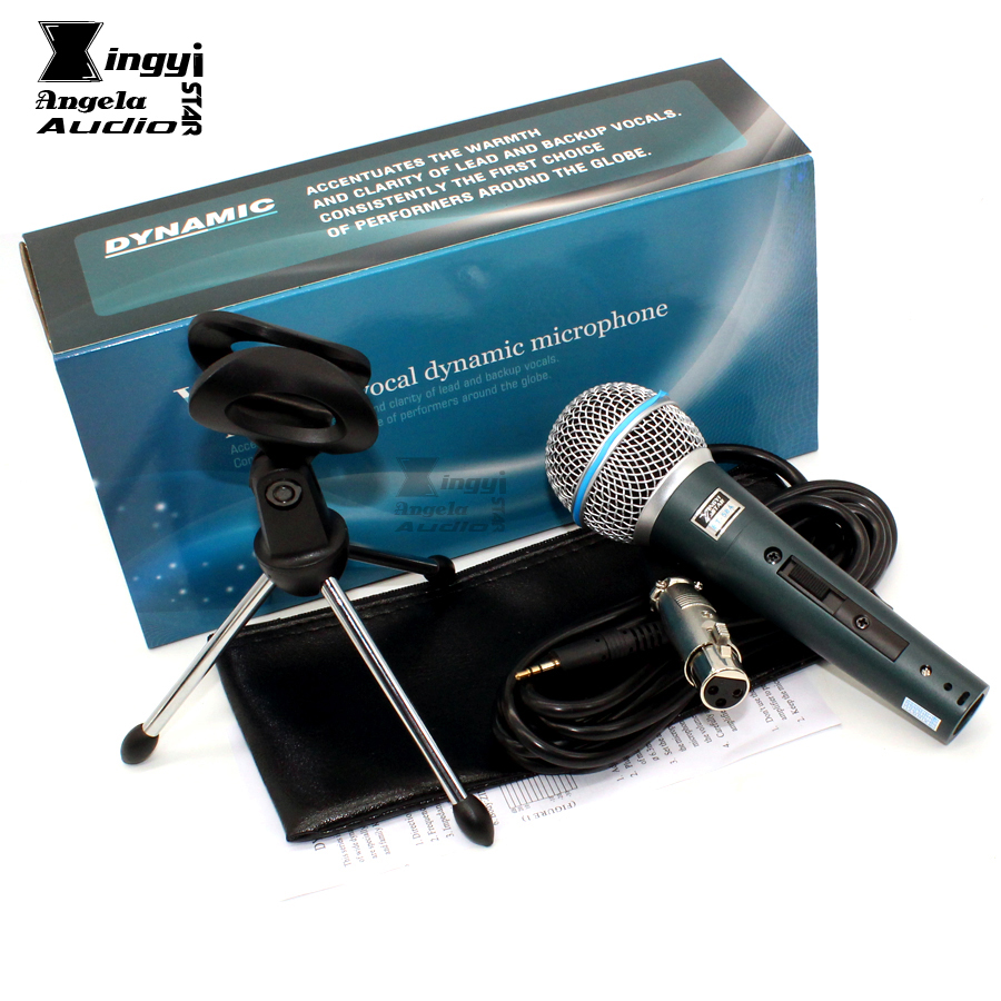 BT58A Desktop Tripod Holder Dynamic Wired Microphone Stand For PC Computer Sing BETA 58 BT 58A Switch Karaoke Mic With 3 m Cable gevo sf 910 microphone for phone 3 5mm cable wired with tripod stand pc mic for computer laptop karaoke studio desktop recording