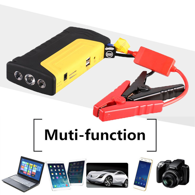High Quality Portable Auto Jump Starter 12V Car Jumper Booster Power Battery Charger Phone Laptops SOS Light Yellow