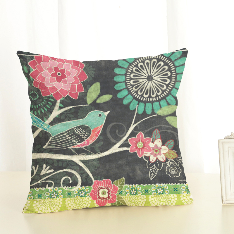 Hot Selling Expression F Linen Cotton Square Retro Floral Home Decor Throw Pillow Cushion Cover Cojines