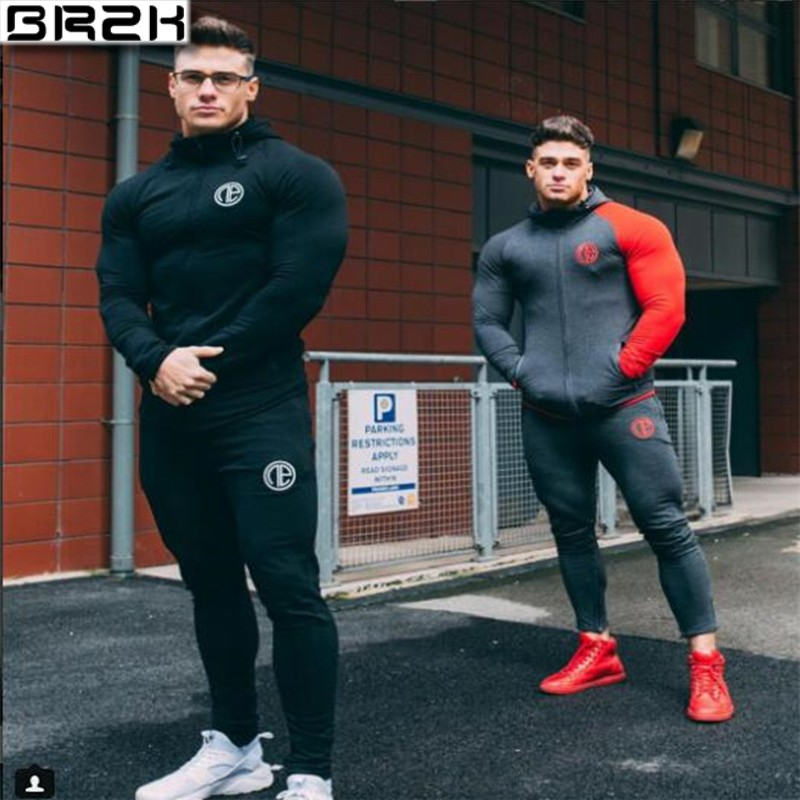 2019 Gyms New Tracksuit Men Pants Sets Fashion Sweatshirt  Sweat Suits Brand Heren Kleding Casual Fitness Outwear Jogger Set